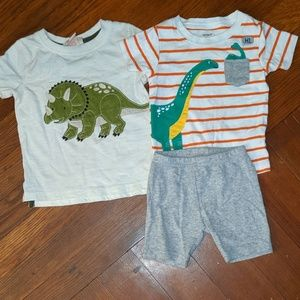 3 item dinosaur lot, t-shirts and shorts